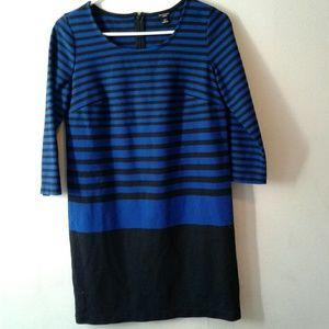 Ann Taylor Black/Blue Striped Career Dress SP